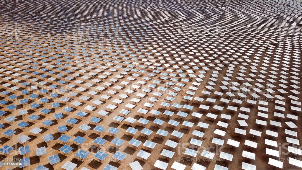 Solar Power Plant Mirrors Aerial Image Stock Photo Download Image Now Istock