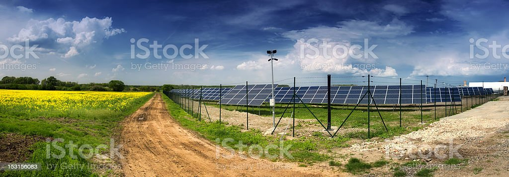 Solar power plant Landscape with solar power plant - green ecology for good shape of Earth. Block Shape Stock Photo