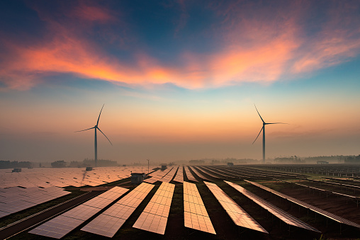 Solar power plants in the dusk of the evening