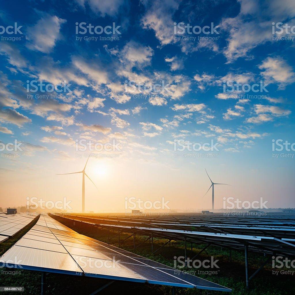 Solar power plant stock photo