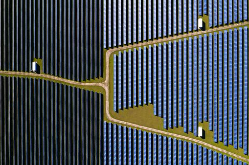 Renewable energy plants, aerial view of solar panels.