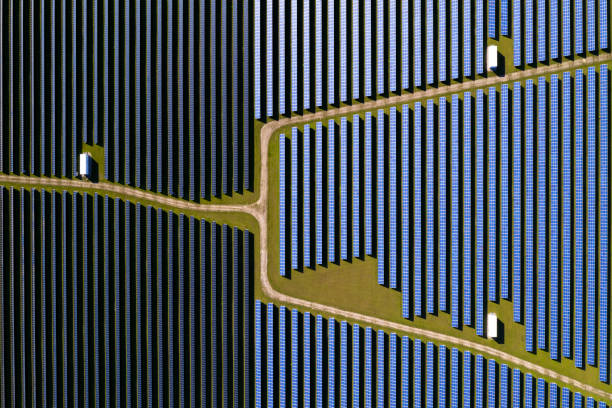 Solar Power Station, Aerial View stock photo