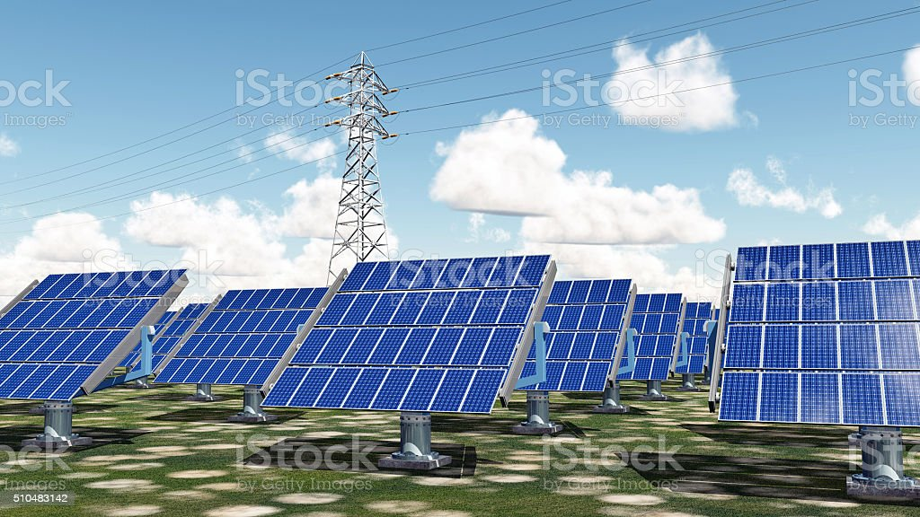 Solar power station and overhead power line stock photo
