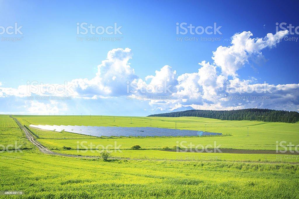 Solar Power Station - Green Landscape XXXL image royalty-free stock photo