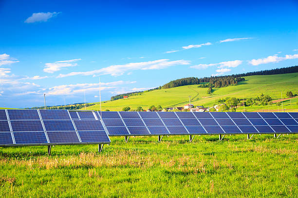 Solar Power Station - Green Landscape XXXL image stock photo