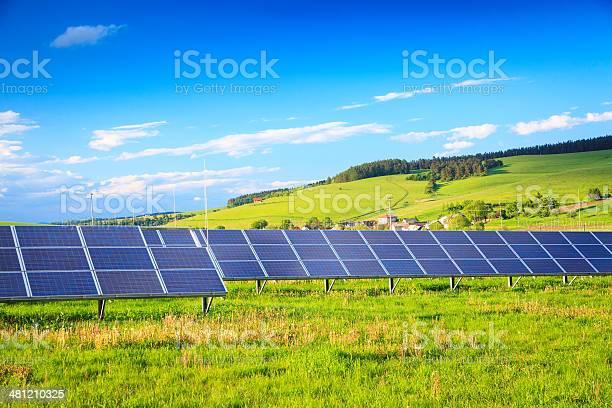 Solar Power Station Green Landscape Xxxl Image Stock Photo - Download Image Now