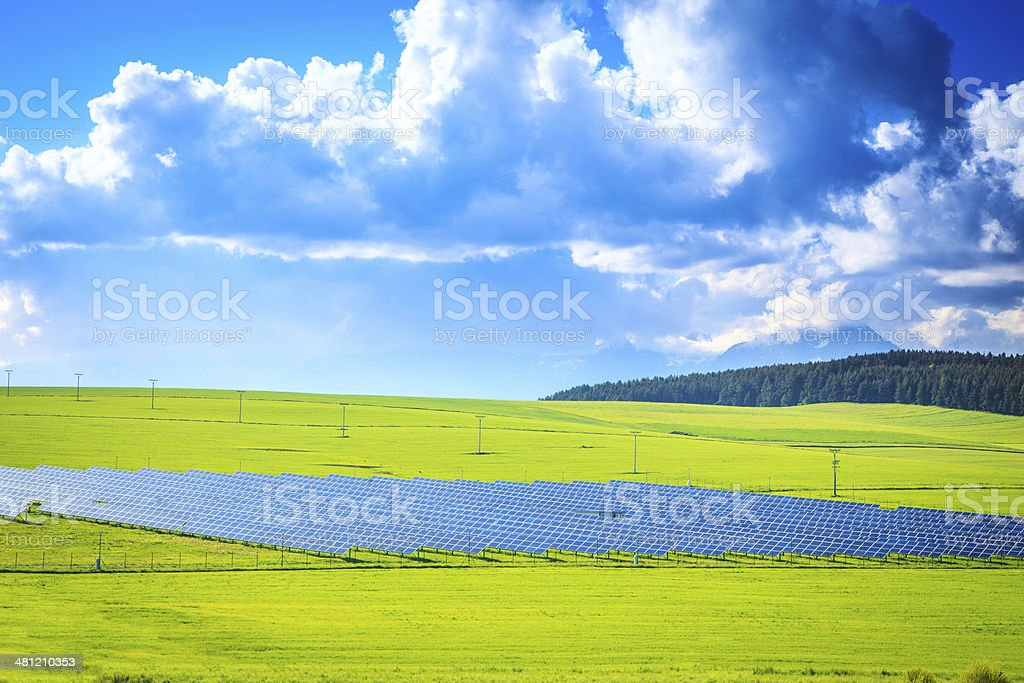 Solar Power Station - Green Landscape XXXL image royalty-free stock photo