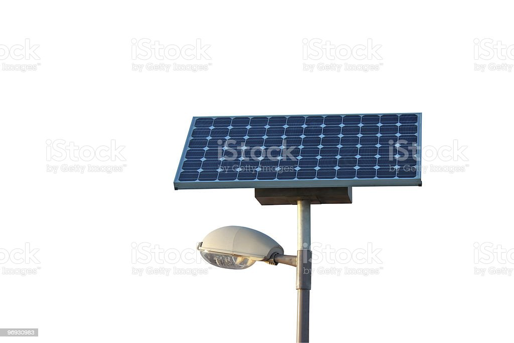 Solar powered city lamp isolated with clipping path royalty-free stock photo