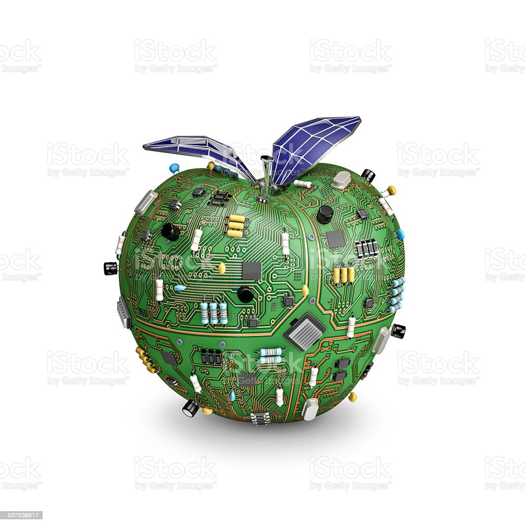 Solar powered data apple stock photo