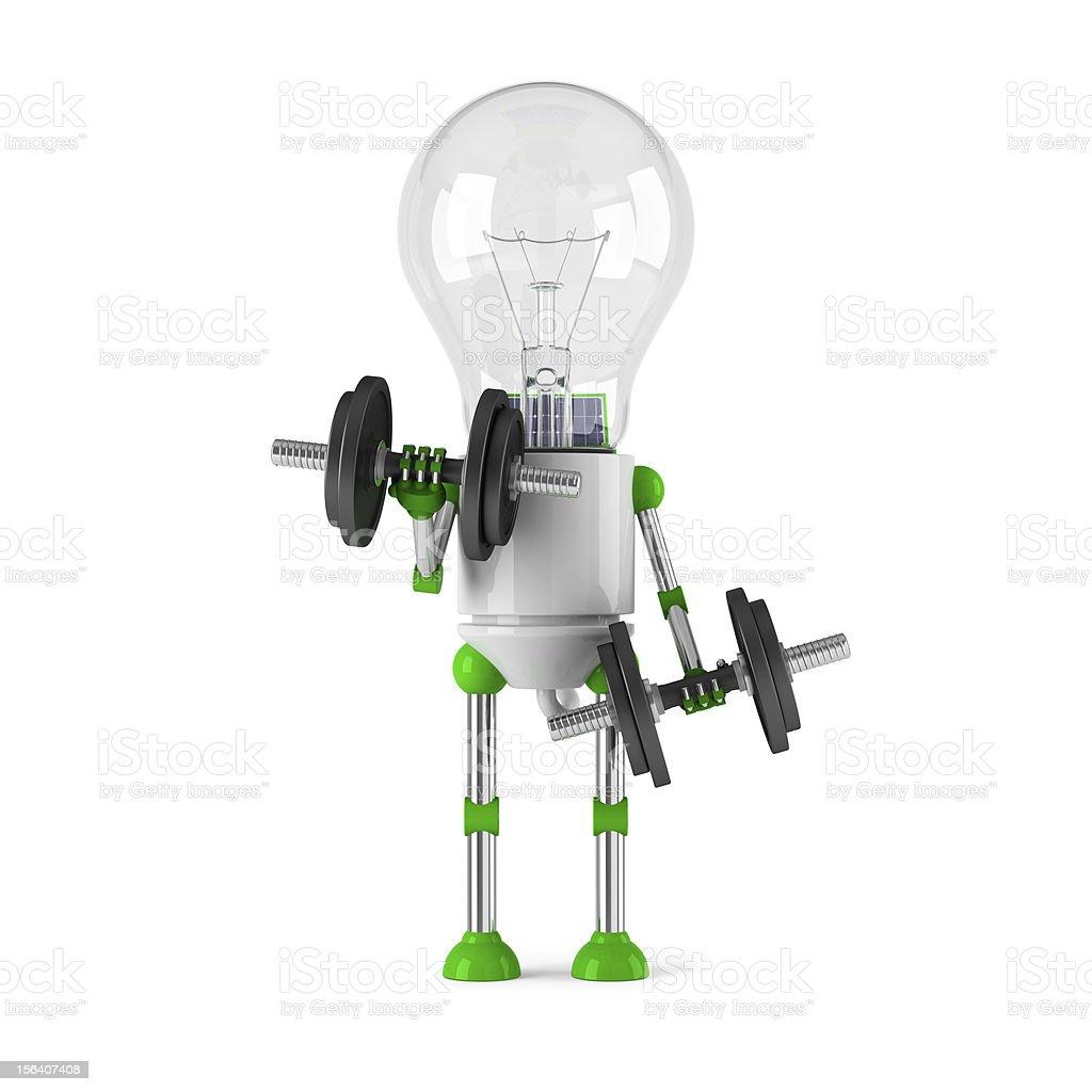 solar powered light bulb robot - fitness royalty-free stock photo