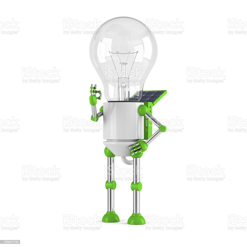solar powered light bulb robot - ok royalty-free stock photo