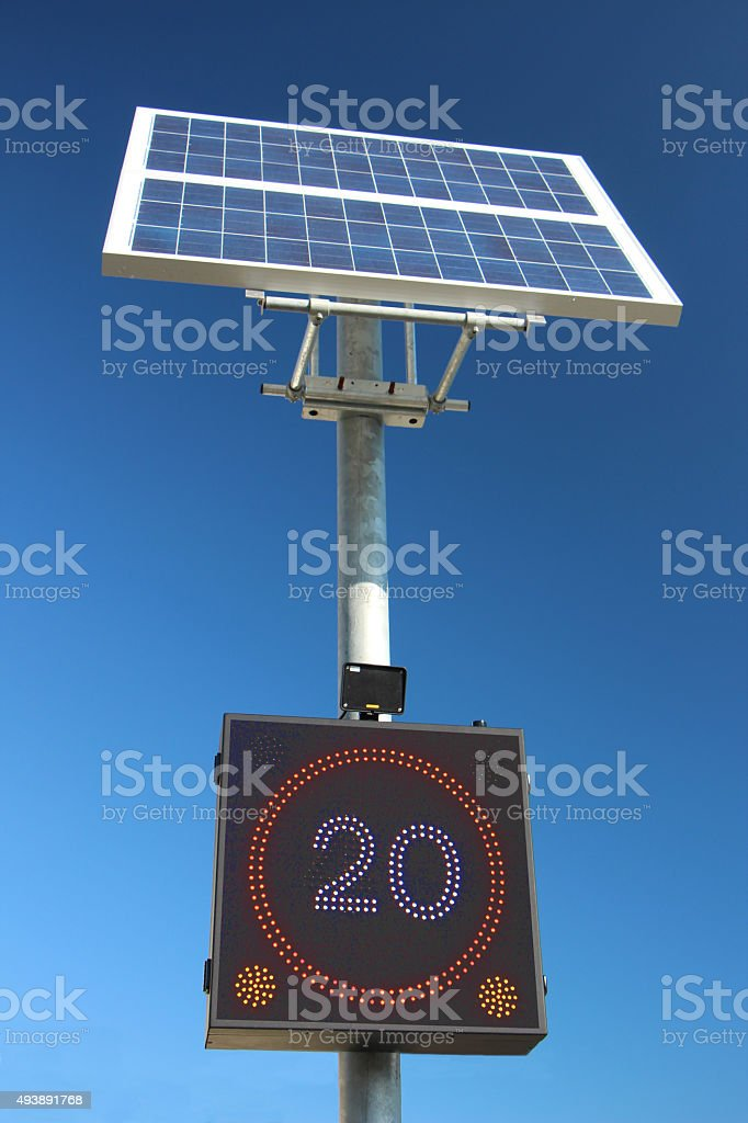 Solar Powered Speed Warning Sign 20MPH stock photo