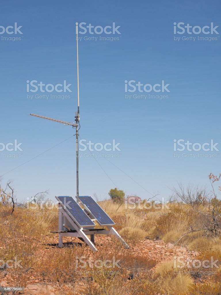 Solar powered UHF radio repeater station near Turners Lookout at Trephina Gorge stock photo