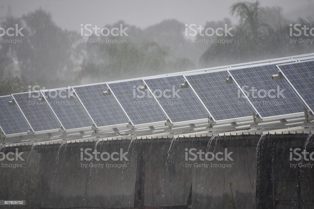Solar roof in winter stock photo