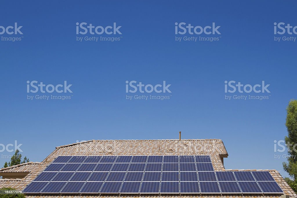 Solar Roof with Blue Sky royalty-free stock photo