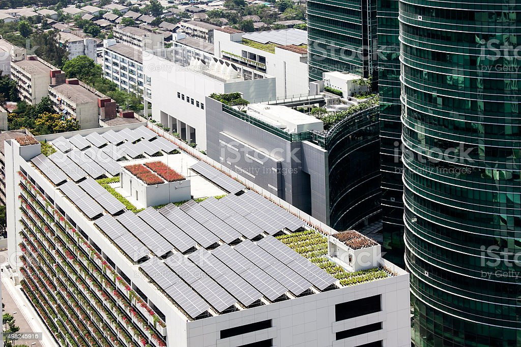 Solar rooftop on  building stock photo
