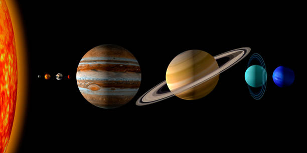 Solar system 3d render illustration with the relative size of the planets and the sun. stock photo