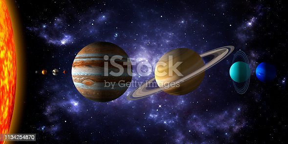 Sun and the eight planets of the solar system with deep space and dramatic nebula background.Realistic 3d illustration of the rendering of the planets size. No text. Free for commercial use surface textures and rings from https://www.solarsystemscope.com/textures/.
