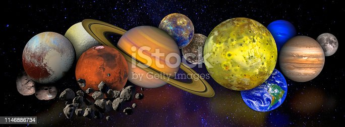 Solar system concept. Collage with planets and moons in outer space. Elements of this image furnished by NASA.  /urls: https://solarsystem.nasa.gov/scientist-for-a-day/2018-2019-topics/ https://images.nasa.gov/details-PIA00343.html https://images.nasa.gov/details-PIA00349.html https://images.nasa.gov/details-PIA02653.html https://images.nasa.gov/details-PIA00407.html https://solarsystem.nasa.gov/resources/999/jupiters-moon-io-poster-version-a/ https://images.nasa.gov/details-GSFC_20171208_Archive_e000868.html https://solarsystem.nasa.gov/resources/1048/mercury-poster-version-a/ https://solarsystem.nasa.gov/resources/946/jupiters-moon-callisto-poster-version-a/ https://images.nasa.gov/details-PIA21867.html https://images.nasa.gov/details-PIA19636.html https://images.nasa.gov/details-PIA18456.html https://images.nasa.gov/details-0202795.html https://solarsystem.nasa.gov/resources/429/perseids-meteor-2016/
