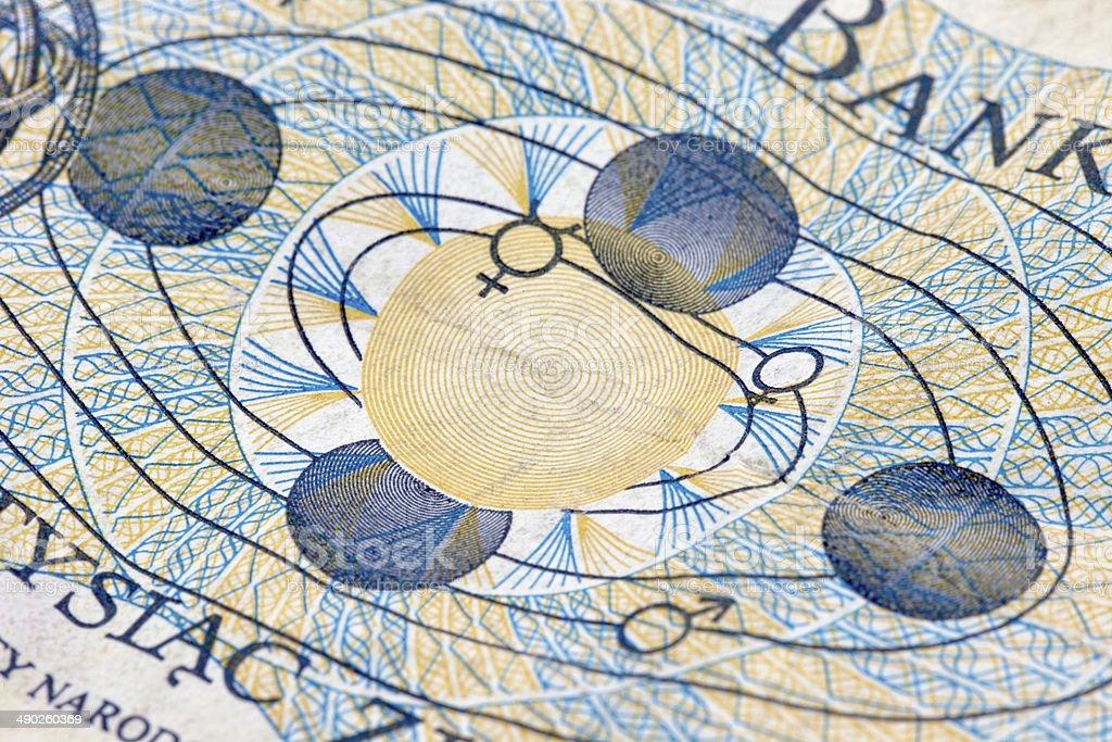solar system engraving stock photo