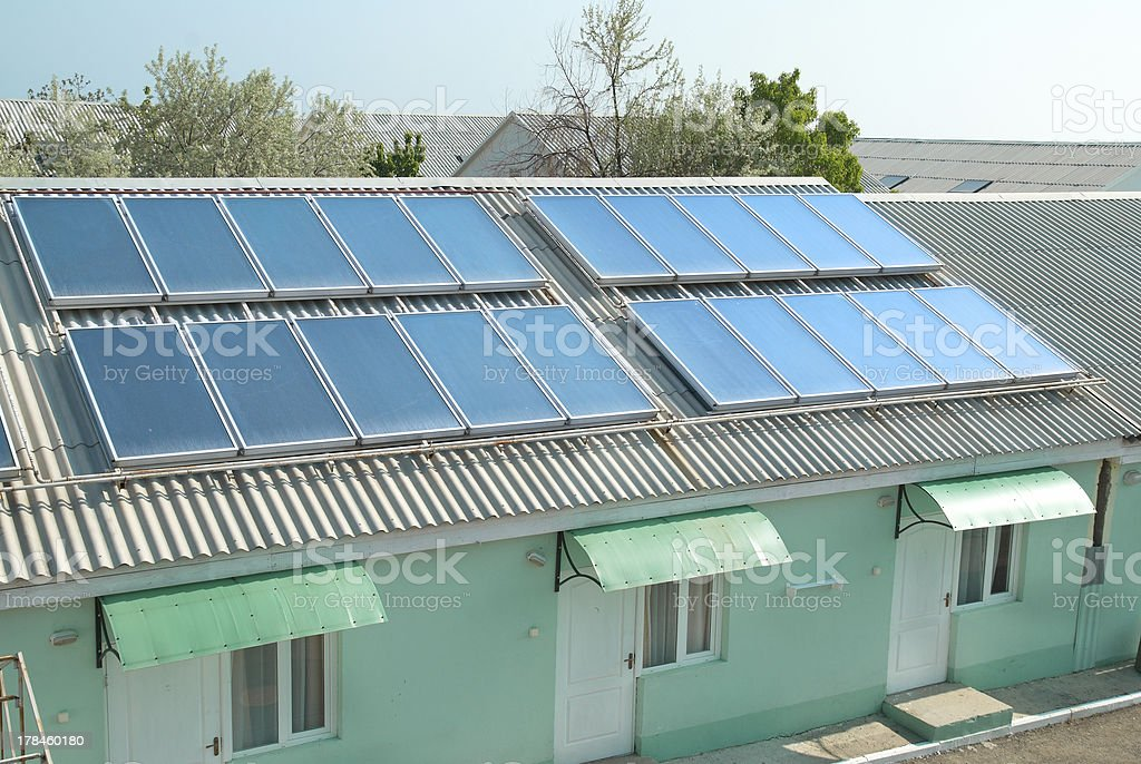 Solar system on the roof stock photo