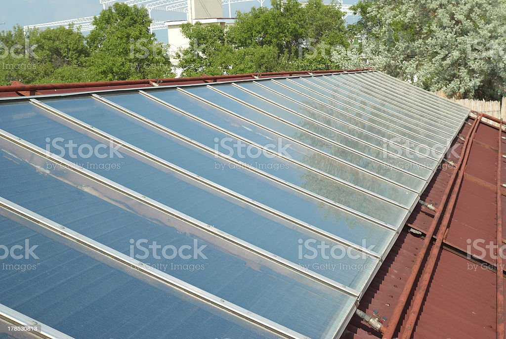 Solar system on the roof royalty-free stock photo