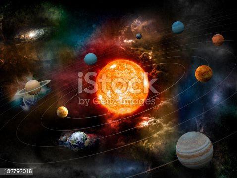The sun and nine planets of our system orbiting. Clipping path included for the foreground objects.Opacity and bump textures for the earth and other planets map prepared via tracing images from www.nasa.gov.Earth texture:http://veimages.gsfc.nasa.gov/2431/land_ocean_ice_cloud_2048.jpgSimilar images: