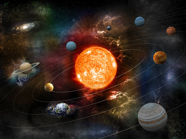 Solar system The sun and nine planets of our system orbiting. Clipping path included for the foreground objects.Opacity and bump textures for the earth and other planets map prepared via tracing images from www.nasa.gov.Earth texture:http://veimages.gsfc.nasa.gov/2431/land_ocean_ice_cloud_2048.jpgSimilar images: planet space stock pictures, royalty-free photos & images