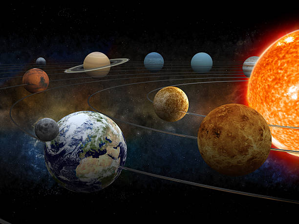 Solar system The sun and nine planets of our system orbiting. planet space stock pictures, royalty-free photos & images