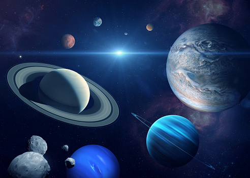 Solar system planet, sun and star. Sun, Mercury, Venus, planet Earth, Mars, Jupiter, Saturn, Uranus, Neptune. Sci-fi background. Elements of this image furnished by NASA. ______ Url(s): \nhttps://images.nasa.gov/details-PIA22688\nhttps://solarsystem.nasa.gov/resources/17549/saturn-mosaic-ian-regan\nhttps://images.nasa.gov/details-PIA01492\nhttps://mars.nasa.gov/resources/6453/valles-marineris-hemisphere-enhanced/\nhttps://photojournal.jpl.nasa.gov/catalog/PIA00271\nhttps://images.nasa.gov/details-GSFC_20171208_Archive_e001386\nhttps://images.nasa.gov/details-PIA21061\nhttps://photojournal.jpl.nasa.gov/jpeg/PIA15160.jpg\nhttps://images.nasa.gov/details-PIA02494\nhttps://www.nasa.gov/multimedia/imagegallery/image_feature_1978.html\nhttps://images.nasa.gov/details-PIA02494\nhttps://images.nasa.gov/details-PIA23121\nhttps://images.nasa.gov/details-PIA13005\nSoftware: Adobe Photoshop CC 2015. Knoll light factory. Adobe After Effects CC 2017.