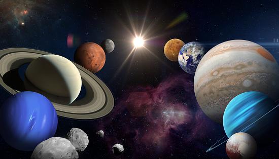 Solar system planet, sun and star. Sun, Mercury, Venus, planet Earth, Mars, Jupiter, Saturn, Uranus, Neptune. Sci-fi background. Elements of this image furnished by NASA. ______ Url(s): \nhttps://images.nasa.gov/details-PIA22946\nhttps://solarsystem.nasa.gov/resources/17549/saturn-mosaic-ian-regan\nhttps://images.nasa.gov/details-PIA01492\nhttps://mars.nasa.gov/resources/6453/valles-marineris-hemisphere-enhanced/\nhttps://photojournal.jpl.nasa.gov/catalog/PIA00271\nhttps://images.nasa.gov/details-GSFC_20171208_Archive_e001386\nhttps://images.nasa.gov/details-PIA21061\nhttps://photojournal.jpl.nasa.gov/jpeg/PIA15160.jpg\nhttps://images.nasa.gov/details-PIA02494\nhttps://www.nasa.gov/multimedia/imagegallery/image_feature_1978.html\nhttps://images.nasa.gov/details-PIA02494\nhttps://images.nasa.gov/details-PIA23121\nhttps://images.nasa.gov/details-PIA13005\nSoftware: Adobe Photoshop CC 2015. Knoll light factory. Adobe After Effects CC 2017.