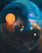 Solar system planet, comet, sun and star. Sun, mercury, Venus, planet earth, Mars, Jupiter, Saturn, Uranus, Neptune. Elements of this image furnished by NASA.