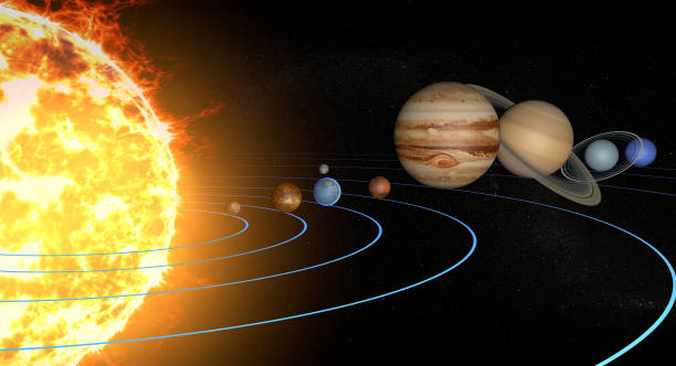 solar system planets, diameter ratio, quantities, sizes and orbits - diameter stock pictures, royalty-free photos & images
