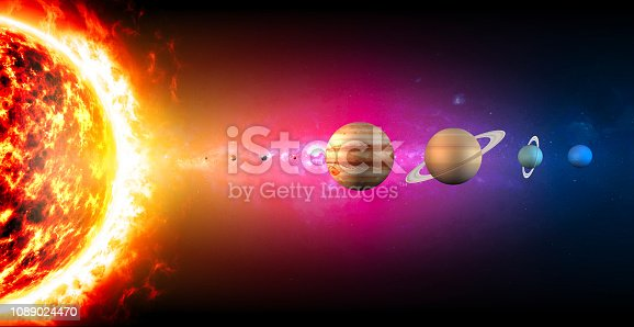 istock Solar system planets diameter sizes. Ratio of magnitudes. Space and universe 1089024470