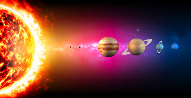 solar system planets diameter sizes. ratio of magnitudes. space and universe - diameter stock pictures, royalty-free photos & images