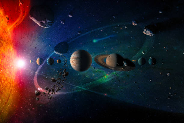 Solar system planets in a row, asteroid rain, comet, sun, dust and star. Giant luminous light ring. Science and education background. Elements of this image furnished by NASA. stock photo