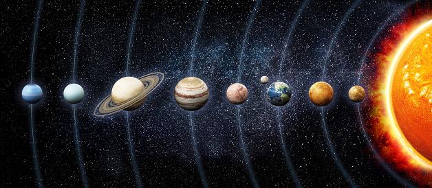 Solar system planets orbiting the sun. 3D illustration. Links for texture maps:  venus:https://www.jpl.nasa.gov/spaceimages/images/largesize/PIA00256_hires.jpg  jupiter:https://www.jpl.nasa.gov/spaceimages/images/largesize/PIA07782_hires.jpg  mars:https://nasa3d.arc.nasa.gov/detail/mar0kuu2  earth:https://www.nasa.gov/centers/goddard/images/content/135704main_worldview_lg.jpg  mercury:https://www.nasa.gov/sites/default/files/images/531904main_MESSENGEROrbitImage_full.jpg  moon:https://svs.gsfc.nasa.gov/4720  saturn:https://nasa3d.arc.nasa.gov/detail/sat0fds1
