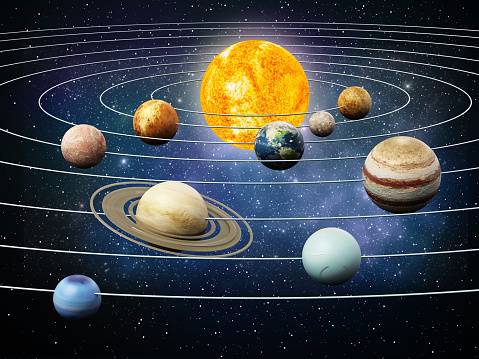 Solar system planets orbiting the sun. 3D illustration.\nLinks for texture maps:\n\nvenus:https://www.jpl.nasa.gov/spaceimages/images/largesize/PIA00256_hires.jpg\n\njupiter:https://www.jpl.nasa.gov/spaceimages/images/largesize/PIA07782_hires.jpg\n\nmars:https://nasa3d.arc.nasa.gov/detail/mar0kuu2\n\nearth:https://www.nasa.gov/centers/goddard/images/content/135704main_worldview_lg.jpg\n\nmercury:https://www.nasa.gov/sites/default/files/images/531904main_MESSENGEROrbitImage_full.jpg\n\nmoon:https://svs.gsfc.nasa.gov/4720\n\nsaturn:https://nasa3d.arc.nasa.gov/detail/sat0fds1