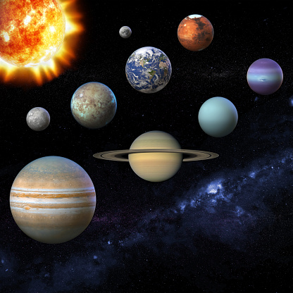 Solar system planet, sun and star. Sun, Mercury, Venus, planet Earth, Mars, Jupiter, Saturn, Uranus, Neptune, Moon, Milky way. Science and education background 3D Illustration. Texture for render some elements this image furnished by NASA