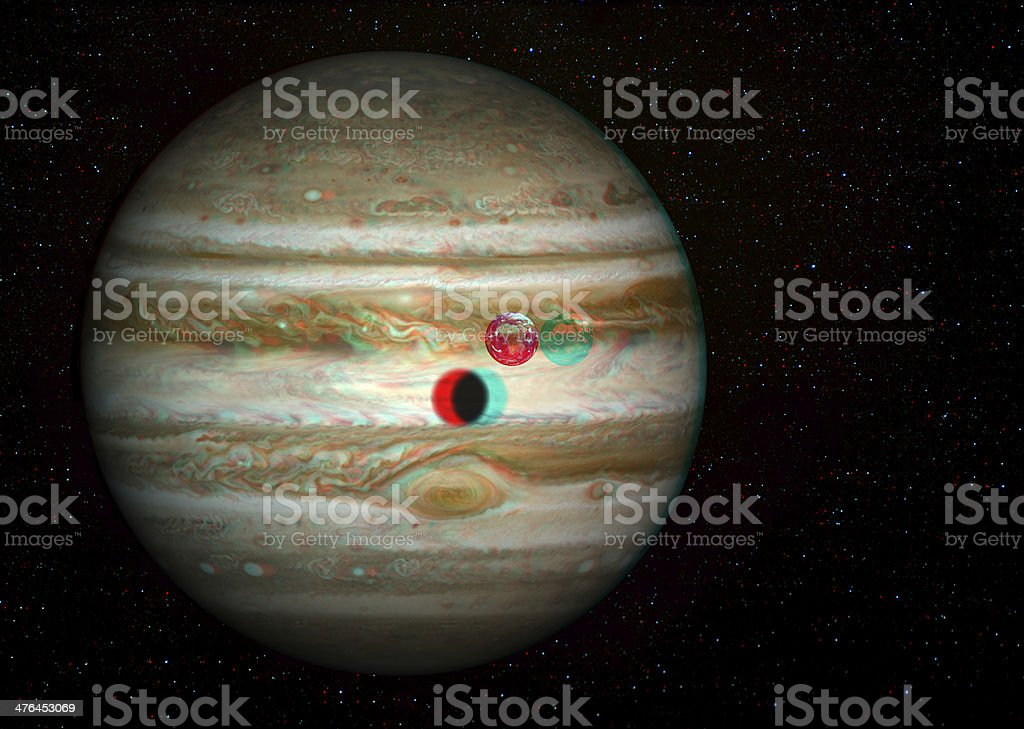 3D solar system series: Jupiter and Earth compared. stock photo