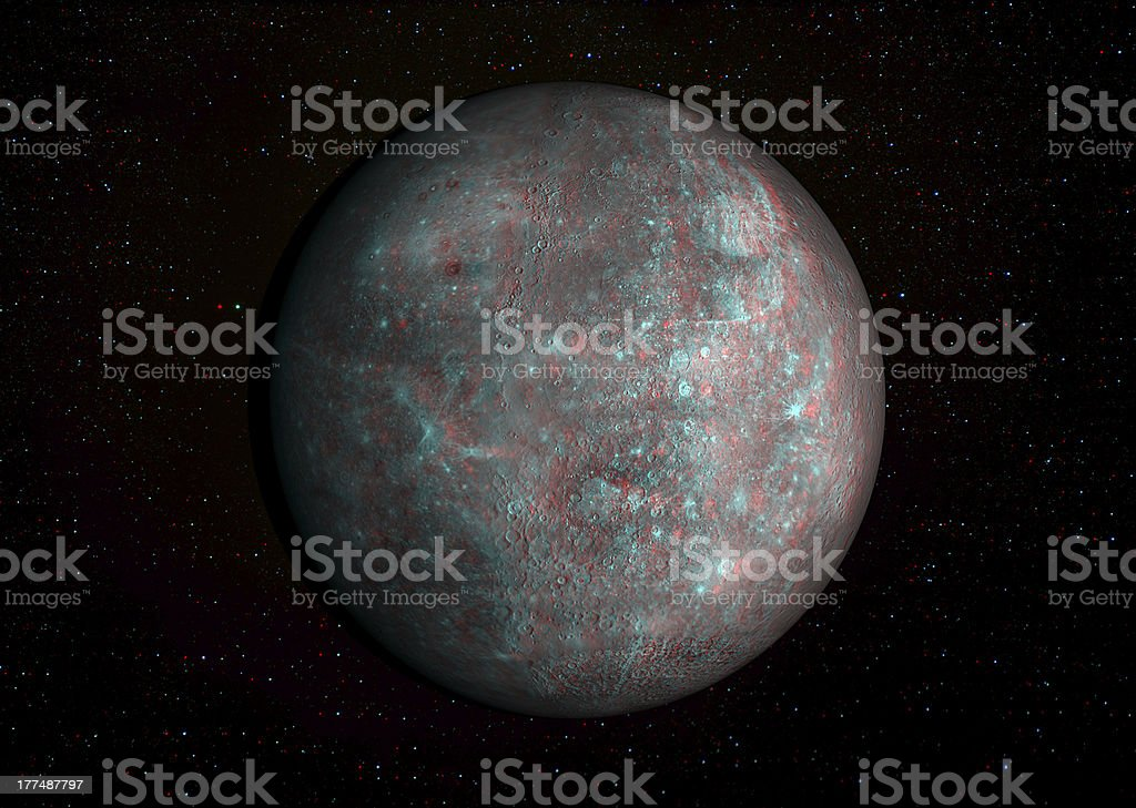 3D solar system series: Mercury with stars in the background. stock photo