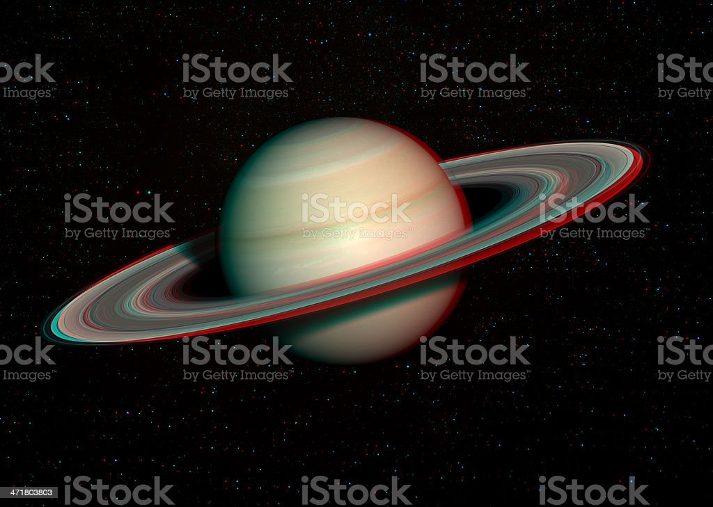 3D solar system series: Saturn with stars in the background. stock photo