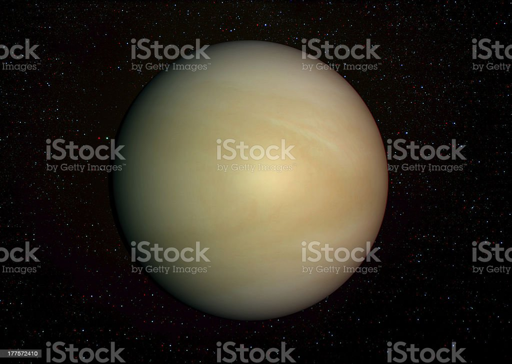 3D solar system series: Venus with stars in the background. royalty-free stock photo