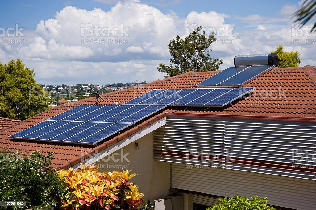 Solar Systems on City House Sydney stock photo