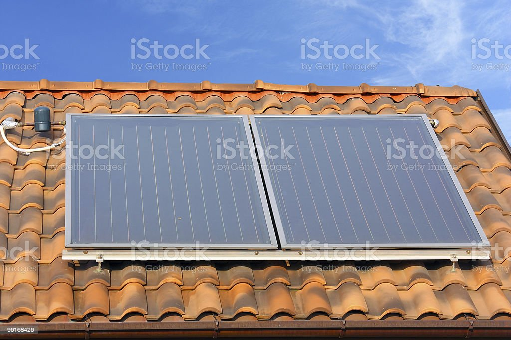 solar thermal collector panels royalty-free stock photo