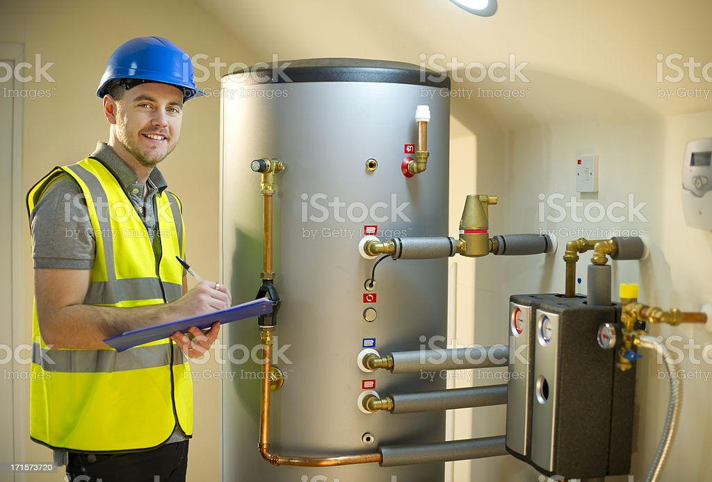 solar thermal engineer stock photo