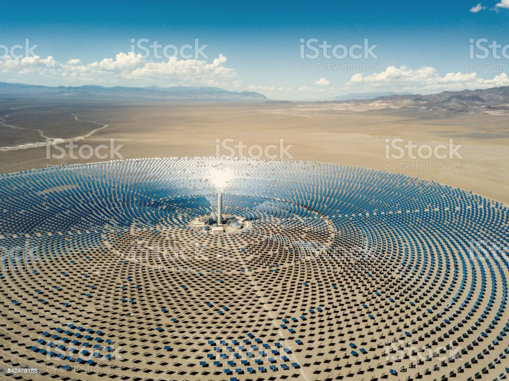 Solar Thermal Power Station Aerial View stock photo