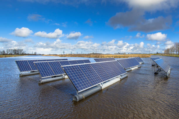 Solar units on water stock photo