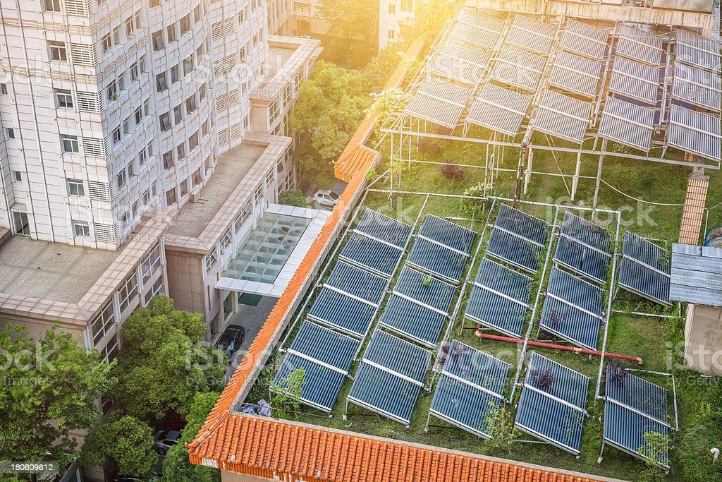 Solar Water Heater stock photo