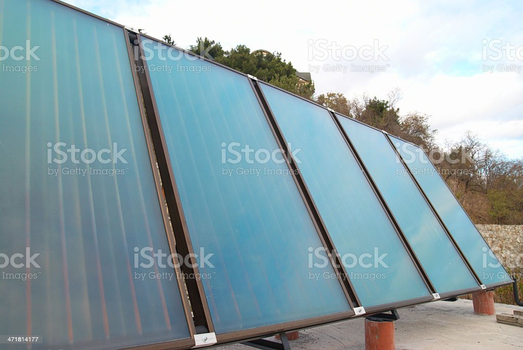 Solar water heating system stock photo
